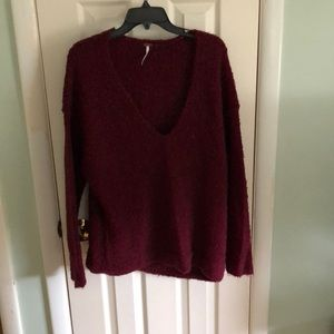 Free People Sweaters - Burgundy v-neck sweater.